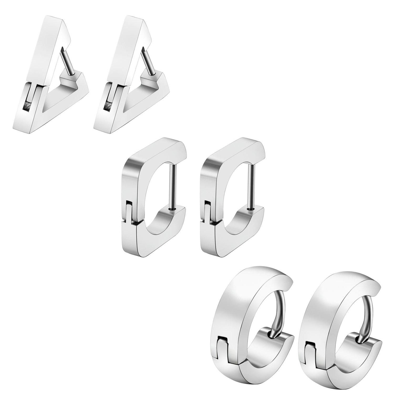 Cupimatch 3 Pairs Stainless Steel Earrings Triangle Round Square Huggie Hoop Earrings Set for Men Women,Silver CU-MI-74-US