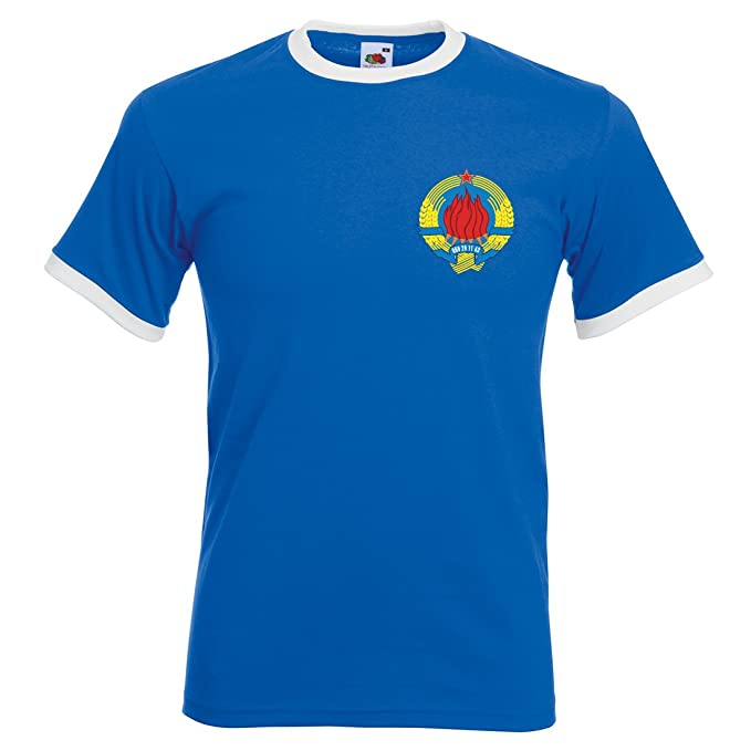 Camiseta de fútbol de Yugoslavia para hombre multicolor Royal Blue and White ...