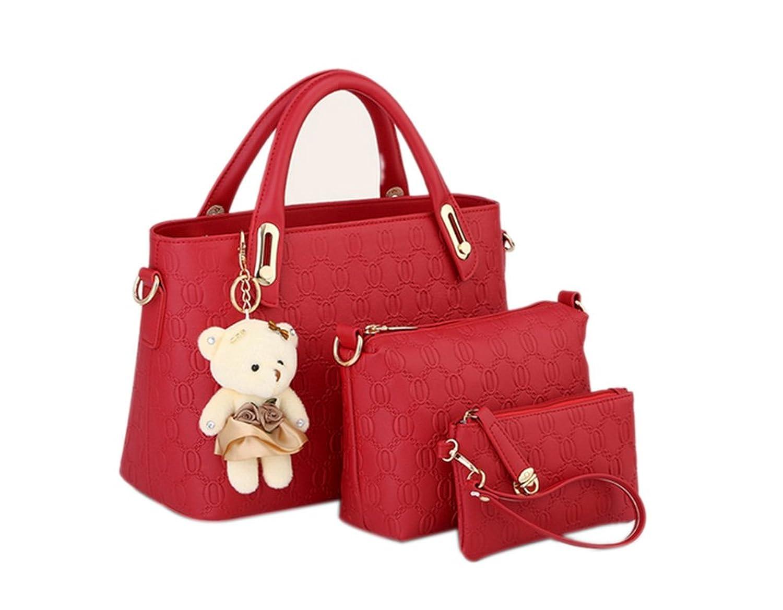Ashlen Women's 3 Pcs Faux Leather Textured Handbag Cross-body Bag and Purse Set