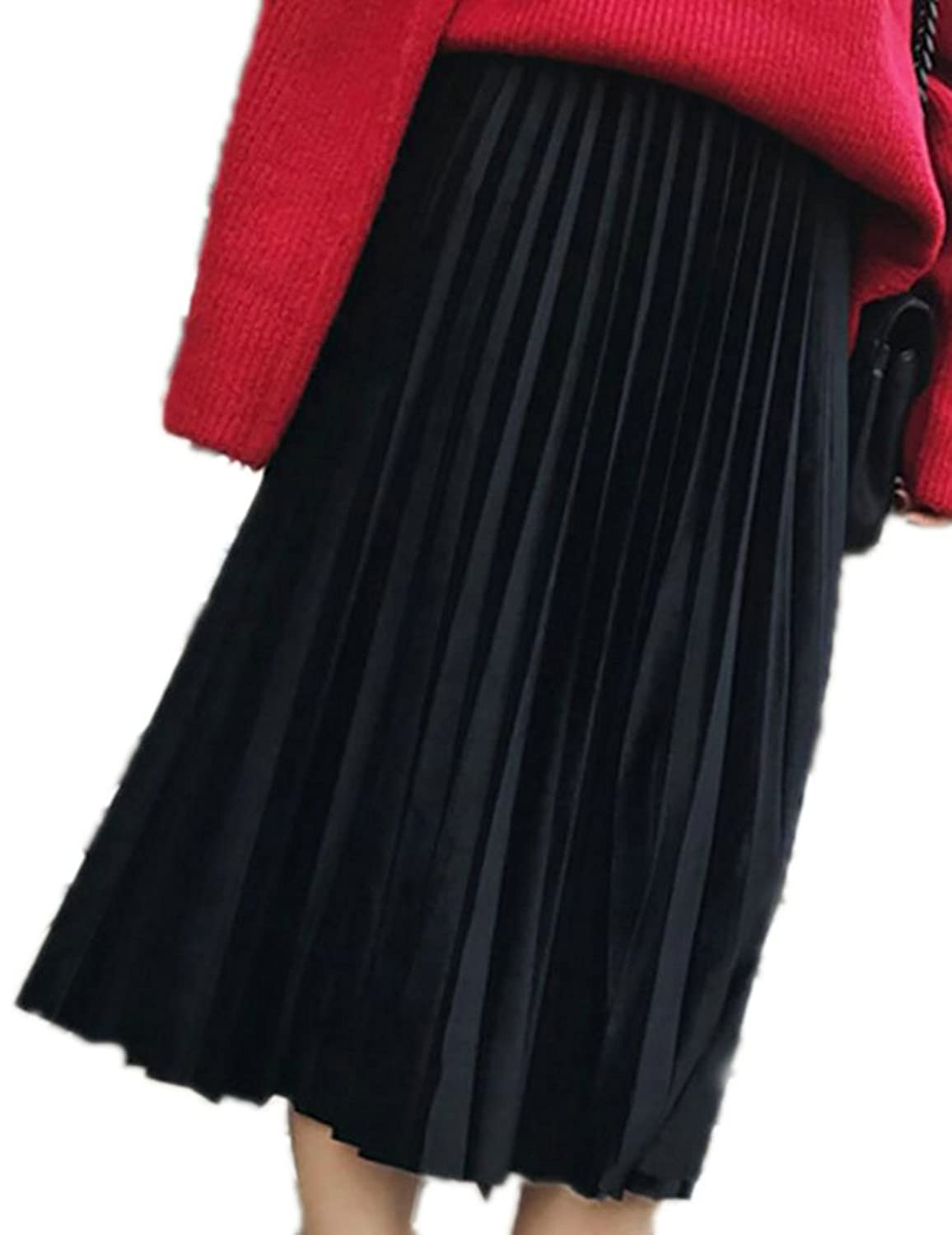 SYTX Womens Casual Plus Size Pure Color Elastic Waist Ruched Midi Skirt Black 3XL
