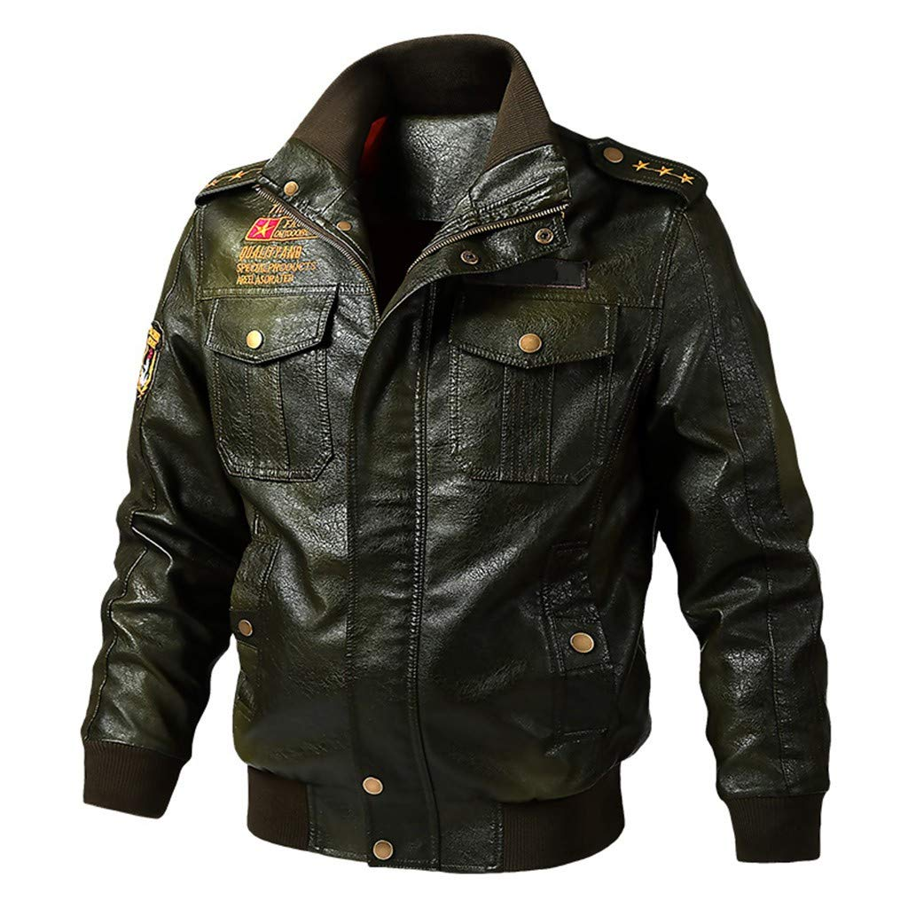 Men Black Leather Motorcycle Jacket Casual Winter Fashion Zip Up Bomber Jacket Windproof Military Peacoat Short Coat (Army Green, 3XL) by Guoxn