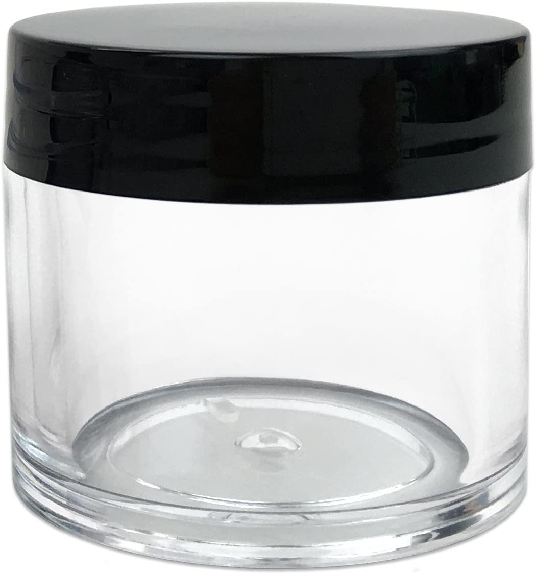 Quantity 12 Pieces Beauticom 30G 30ML 1 Oz Round Clear Jars with Black Lids for Pills, Medication, Ointments and Other Beauty and Health Aids – BPA Free