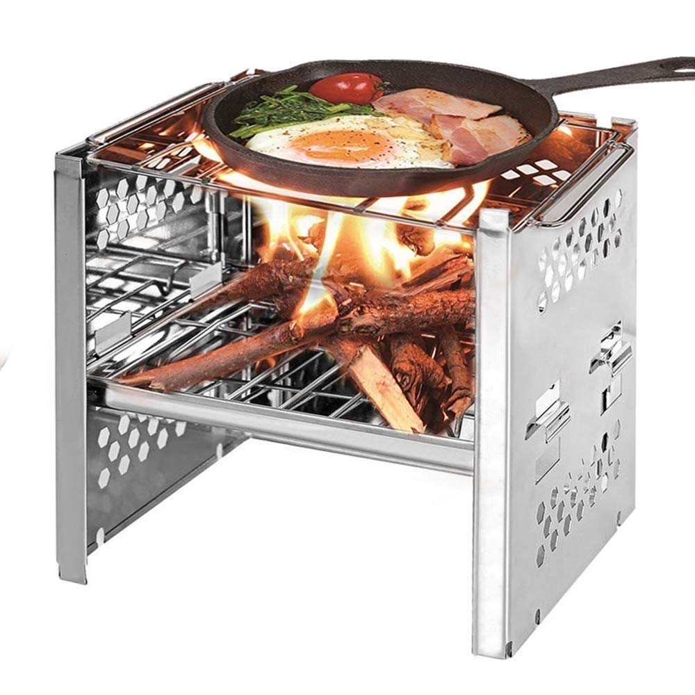 DLINMEI Outdoor Mini Barbecue Stainless Steel Liftable Portable Folding Stove Picnic Tableware BBQ