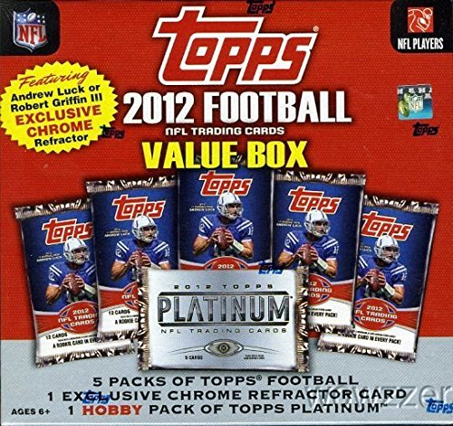 2012 Topps NFL Football Factory Sealed MEGA Box with 5 Topps Football Packs & Topps Platinum HOBBY Pack! Plus Bonus SPECIAL CHROME ROOKIE of Andrew Luck or Robert Griffin! ()