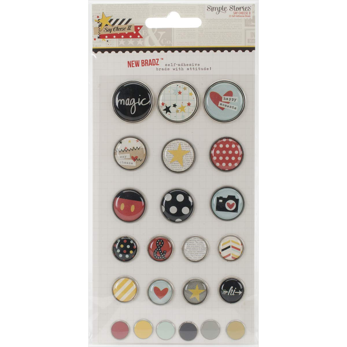 Simple Stories Say Cheese II Collection Decorative Brads (12 Pack)