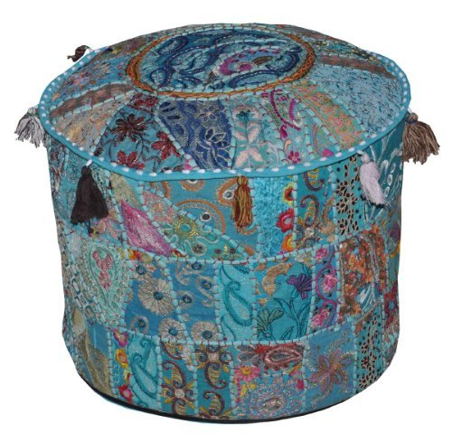 Indian Vintage Ottoman Embellished With Embroidery & Patchwork Foot Stool Floor Cushion, 18 X 13 Inches