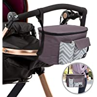 Zerodis Kinderwagen Organizer Tasche Mamabeutel Babytasche H/ängende Aufbewahrungstasche mit Verstellbaren Tr/ägern Schwarz