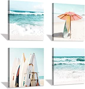 Beach Canvas Wall Art Painting: Summer Surfboard and Umbrella on Beach Picture Print for Bathroom (12'' x 12'' x 4 Panels)