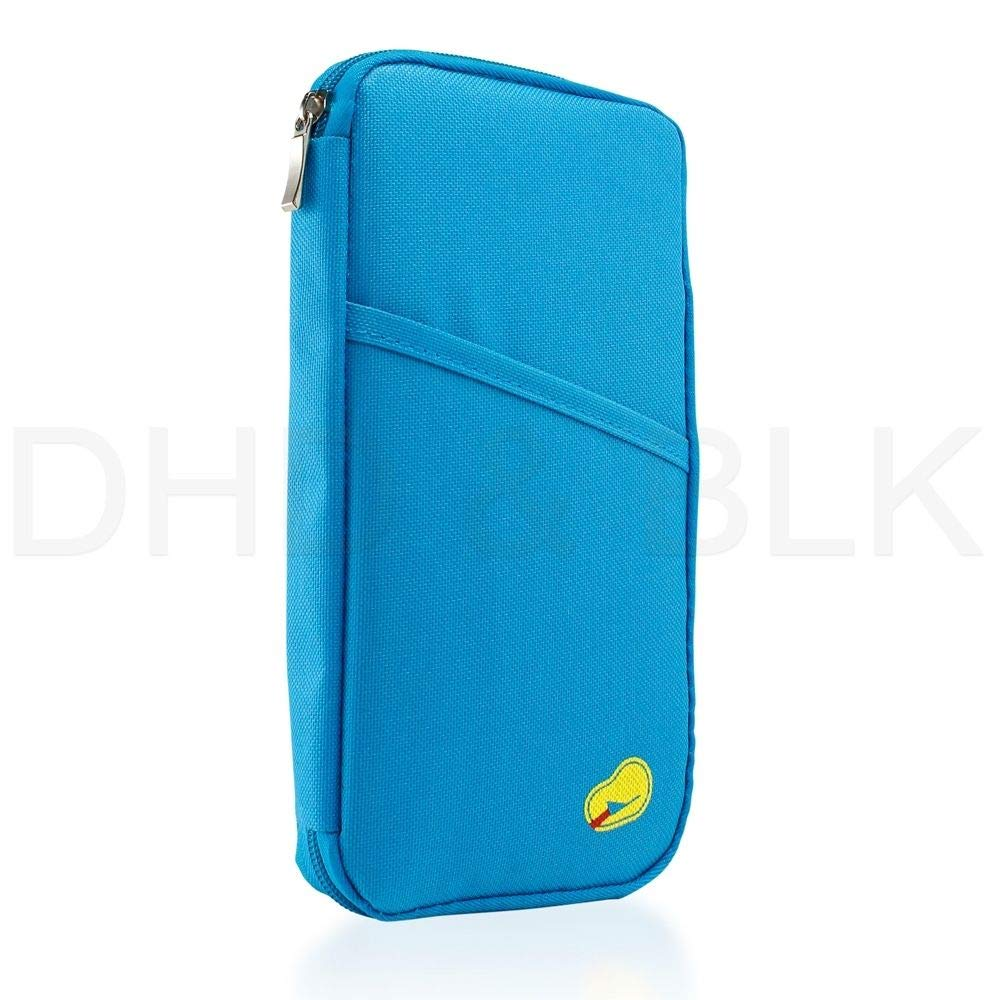 Blue Wallet Purse Holder Case Document Bag Travel Passport Credit ID Card Cash Organizer Travel Bag Case