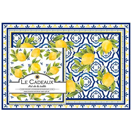 Le Cadeaux Palermo Paper Napkins and Paper Placemats, Lemon