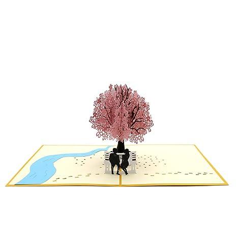 Amazon.com: rotus hecho a mano Cherry Blossom Pop Up Tarjeta ...