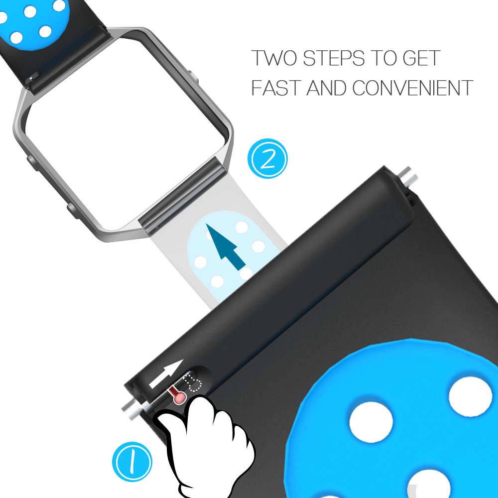 Accessories for Fitbit Blaze Band Strap,Gel Soft Silicone Replacement Sport Band for Fitbit Blaze Smart Fitness Watch (Black&Blue, 5.1-6.9 inch)