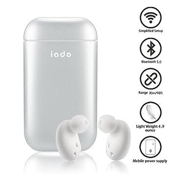 Auriculares Bluetooth Inalámbricos 5.0, IPX5 Impermeable Auriculares con Cargador Portátil Micrófono Incorporado, Par Súper Fácil, Sonido Premium con Bajo ...