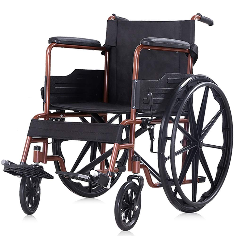 YANGLIYU Wheelchair,Attendant-Propelled Wheelchair,Padded Seat Folding Self Propelled Wheelchair Removable Footrests ,Can Bear 100 Kg (Color : Orange)