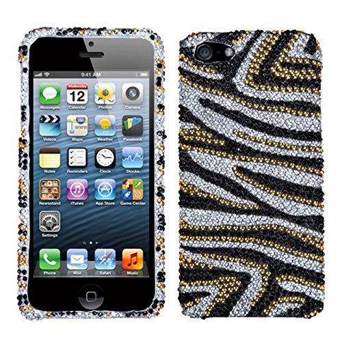 Zebra Full Rhinestones Snap - Insten Zebra Rhinestone Diamond Bling Hard Snap-in Case Cover Compatible with Apple iPhone 5/5S/SE/Black