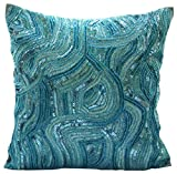 """Blue Accent Pillows, Sequins and Beaded Abstract Glitter Sparkly Pillows Cover, 16""""x16"""" Decorative Pillow Covers, Square Silk Throw Pillows Cover, Geometric Contemporary Pillow Cases - Aqua Infinity"""