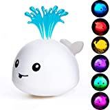 HLXY Baby Bath Toy, Water Spraying Whale Squirt Toy LED Light Up Bath Toys Bathtub Shower Pool Bathroom Toy for Baby Toddler