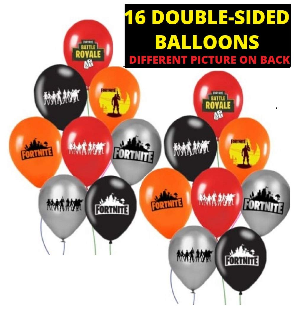 FAT CAT SALES - FORTNITE - Large Latex 12 Double Sided Balloon Set - Kids Favorite Gaming Party Supply - A Deluxe Decor Bundle (Black RED Orange Silver) 16PCS
