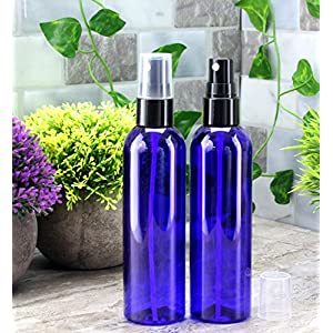 4oz Cobalt Blue Empty Plastic Refillable PET Spray Bottles w/ Fine Mist Atomizer Caps (6-pack); Sprayers for DIY Home Cleaning, Aromatherapy, Travel, On-the-Go & Beauty Care (4 ounce, Cobalt Blue, 6)