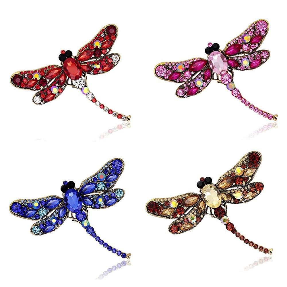 Crystal Rhinestone Dragonfly Brooch Pin Jewelry Birthday Gifts (Dragonfly Brooch -4pcs)