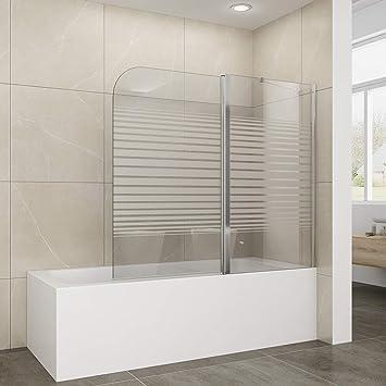 Duschwand Badewanne Milchglas