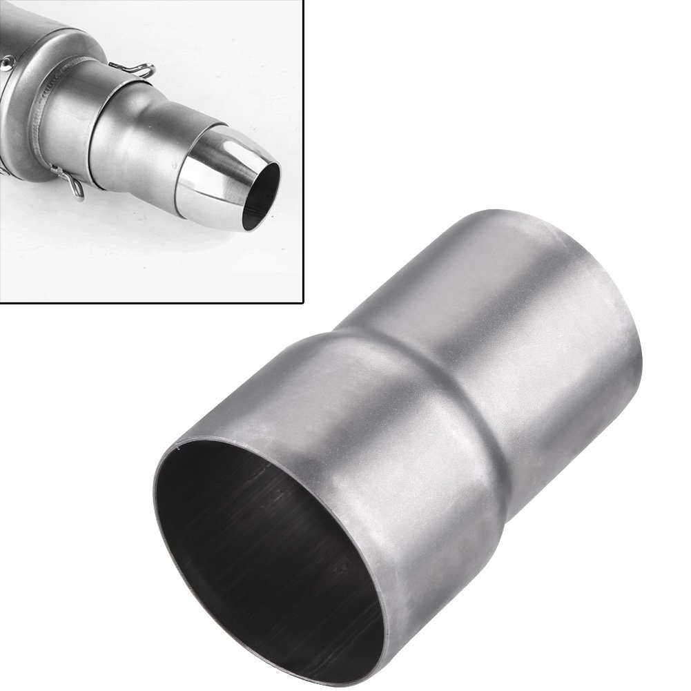 Qiilu 51mm to 60mm Motorcycle Exhaust Pipe Adapter Reducer Muffler Connector Stainless Steel