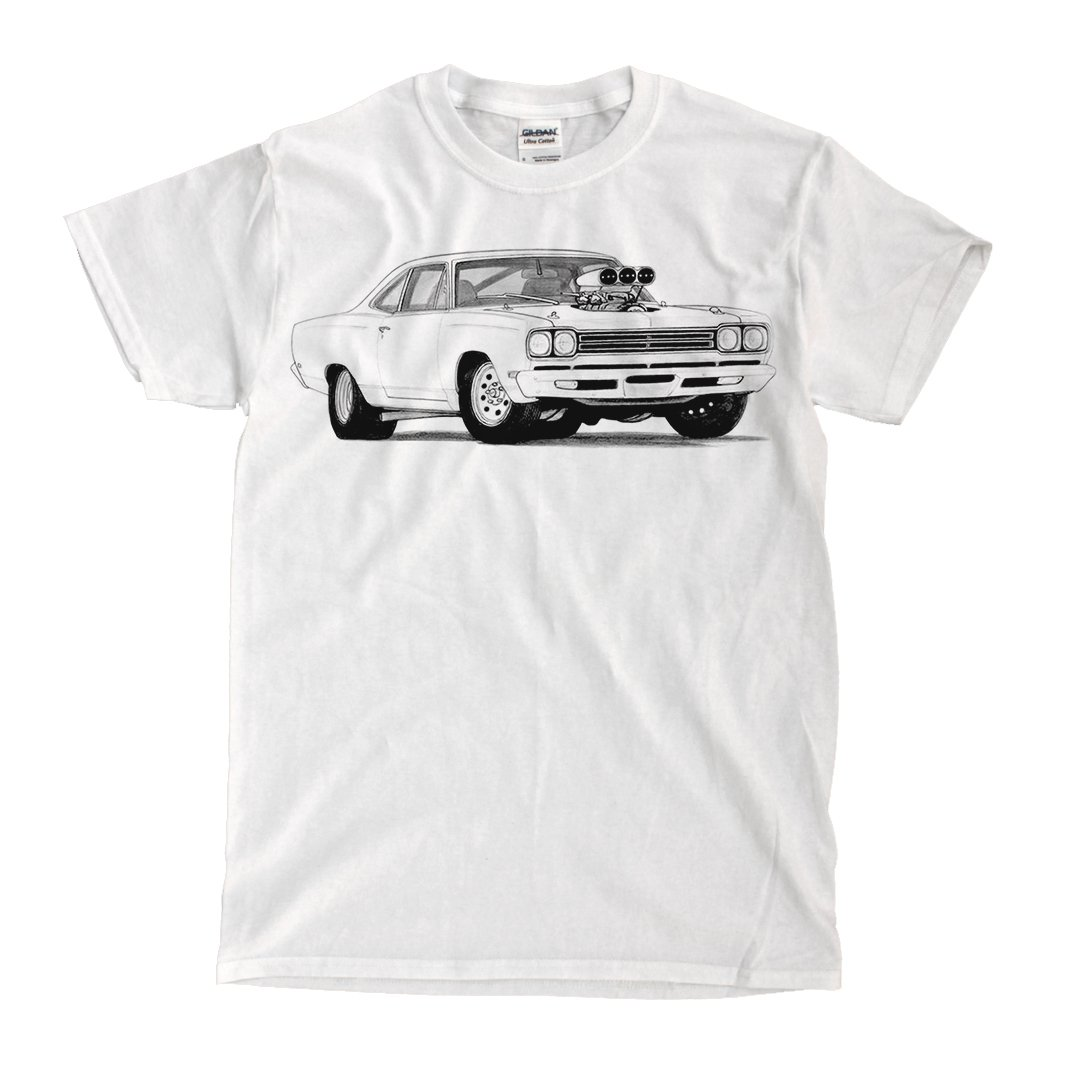 5c2512b7 Plymouth Roadrunner 1969 Drawing White T-shirt - Ready to Ship! -  High-Quality! | Amazon.com