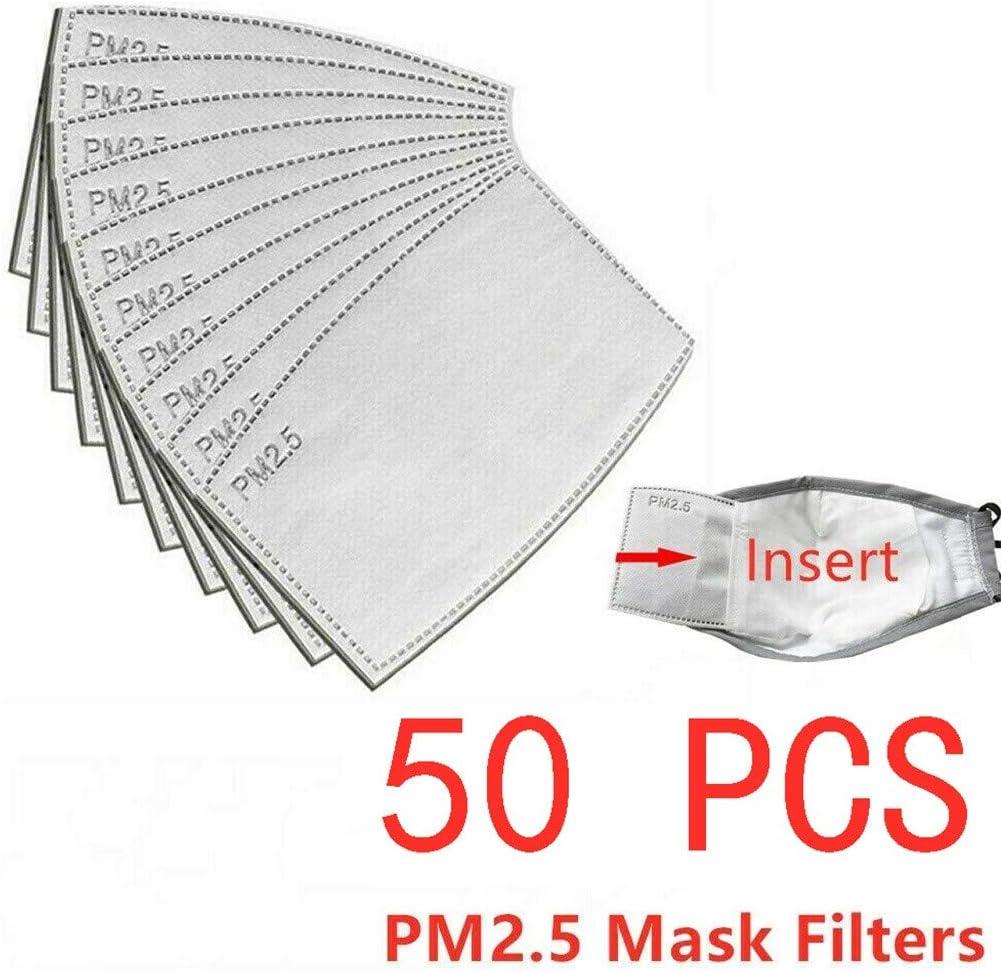 Gris-50pcs COZOCO 50 Unidades de protecci/ón Facial PM2.5-Filtro de carb/ón-Activado-Inserto de respiraci/ón-Facial-Protector-Boca en Stock