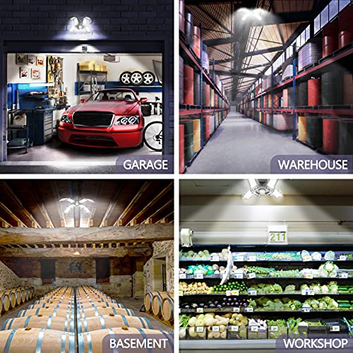 FAUETI Garage LED Light, 15000LM led Garage Ceiling Lights with 8 Deformable Glow LED Panels, Easy to Install for Shop/Basement/Warehouse(6500K ,150w,192pcs LEDs)