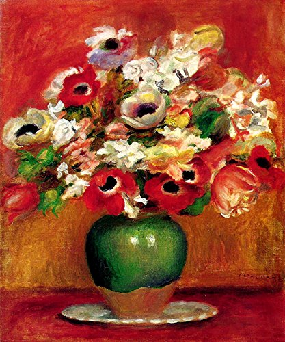 """FLOWERS IN A GREEN VASE FRENCH 1885 IMPRESSIONIST PAINTING BY PIERRE AUGUSTE RENOIR 16"""" X 20"""" IMAGE SIZE ON CANVAS REPRO"""