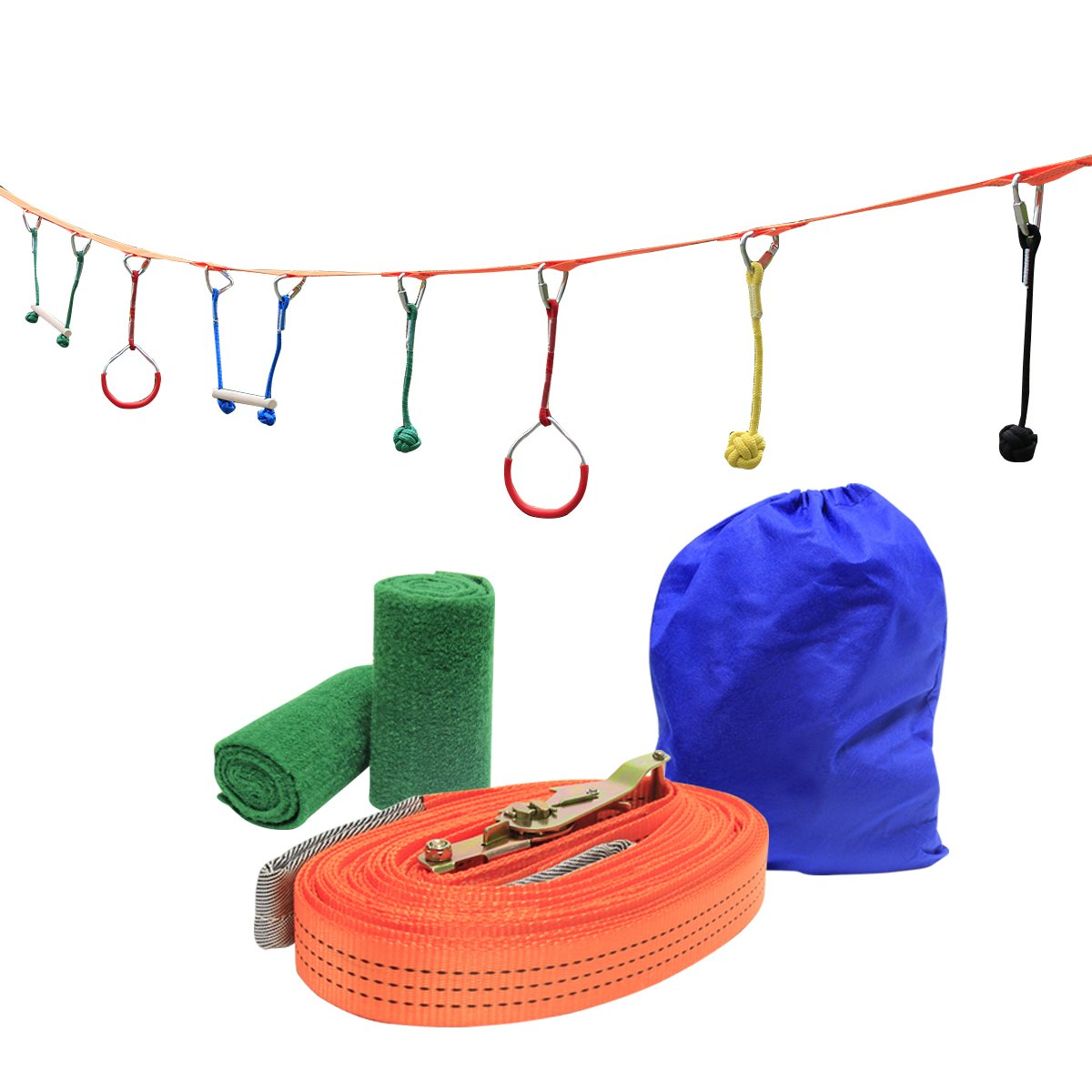 UBOWAY Ninja Hanging Obstacle Course Kit Obstacles Line Equipment Set for Kids with 46' Slackline, 2 Monkey Bars, 2 Gymnastics Rings, 3 Fists for Backyard, Playground (7 Obstacles)