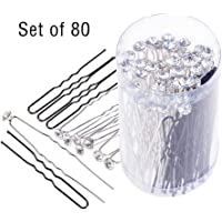 80 Pack White Crystal Rhinestone Hair Pins & U Shape Hairpins, SourceTon Wedding Hair Clips Professional Hairdressing…