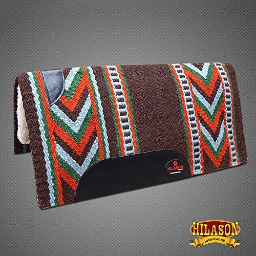 HILASON Made in USA Western Wool Shock Buster Saddle Blanket Pad Brown