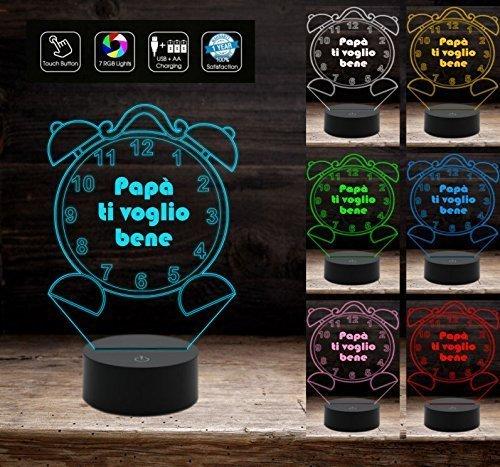 Regalo festa del papà lampada 3D 7 colori led da scrivania per auguri compleanno