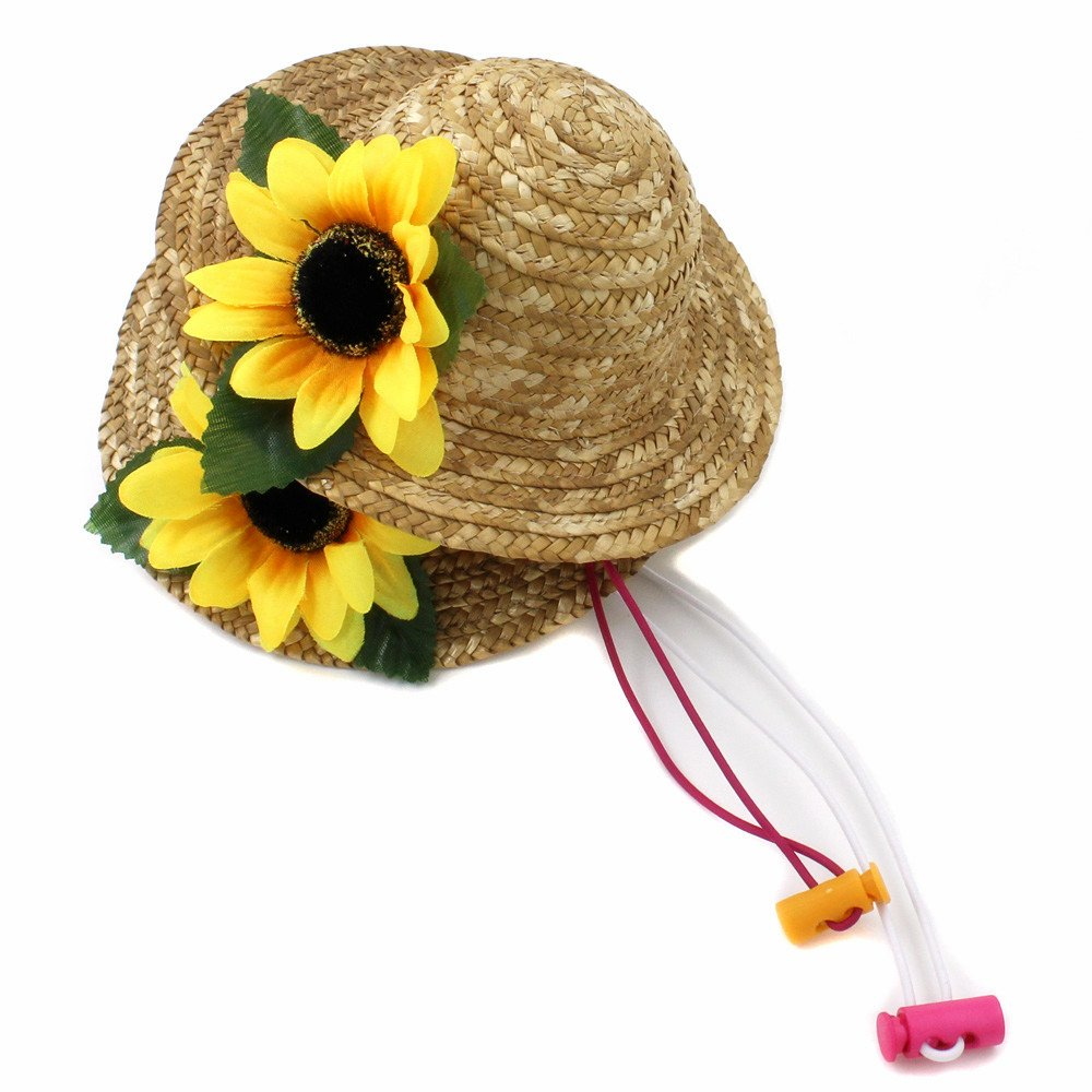 2 Packs Beautiful 3D Sunflower Handcrafted Woven Straw Pet Hat Set Costume Cat Dog Hat Toy Hat Novelty Cosplay Farmer Hat w/ Adjustable Chin String