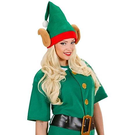 Cappello gnomo con orecchie a punta copricapo elfo accessorio costume nano  aiutante di Babbo Natale ba3cddb8fd34