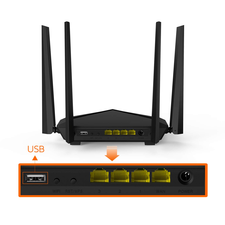 Tenda AC10U Router WiFi inalámbrico (AC1200 Doble Banda 5 GHz a 867 Mbps, 2,4 GHz a 300 Mbps, 1*USB 2.0, Gaming, Beamforming+, Gigabit, 4 Antenas 5dBi, ...