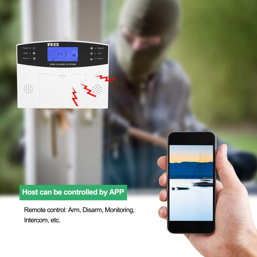 EU Kits Alarma Antirrobo para el hogar con Sensor PIR 100-240 V Sistema de Alarma gsm inal/ámbrico Control Remoto por App