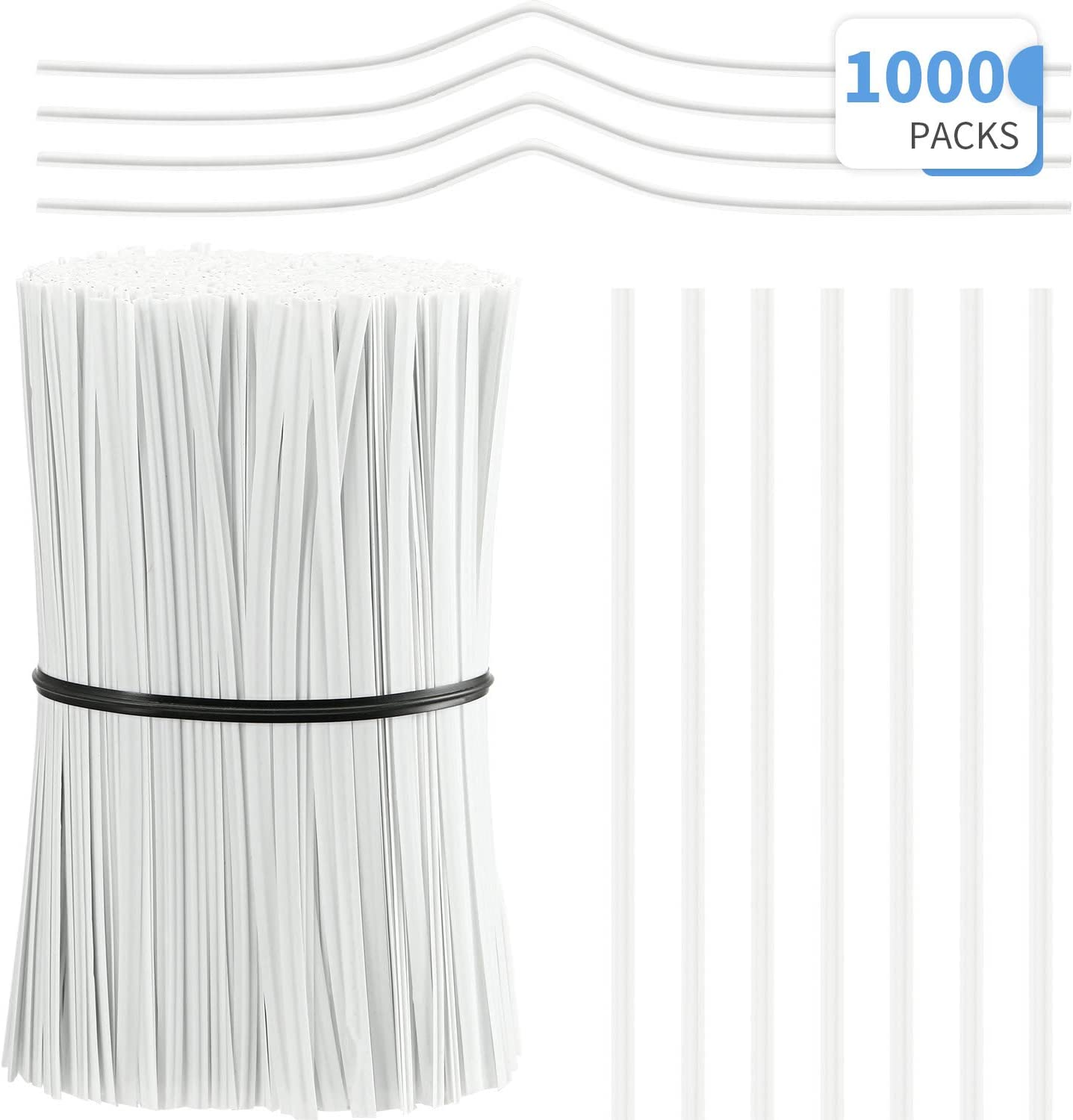 3.9 Inch Length White 1000 Pieces Plastic Coated Twist Ties Twist Cord Wire Cable Ties Reusable Nose Bridge Strips for Party Cello Candy Bread Bags Cake Pops