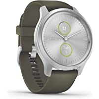 Garmin Vivomove Style Hybrid Smartwatch (42mm, Slate Stainless Steel Bezel with Sandstone Case and Silicone Band)