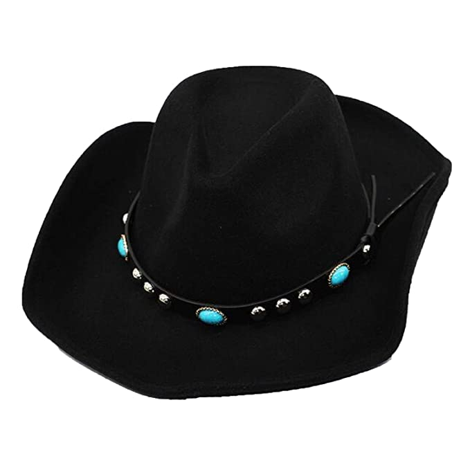 5fed418997f New Adult 100% Vintage Western Cowboy Hat with Wide Brim Punk Belt Cowgirl  Jazz Cap