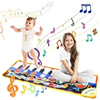 Musical Piano Mat, 19 Keys Piano Keyboard Play Mat Children Foot Touch Play Portable Musical Blanket Build-in Speaker…