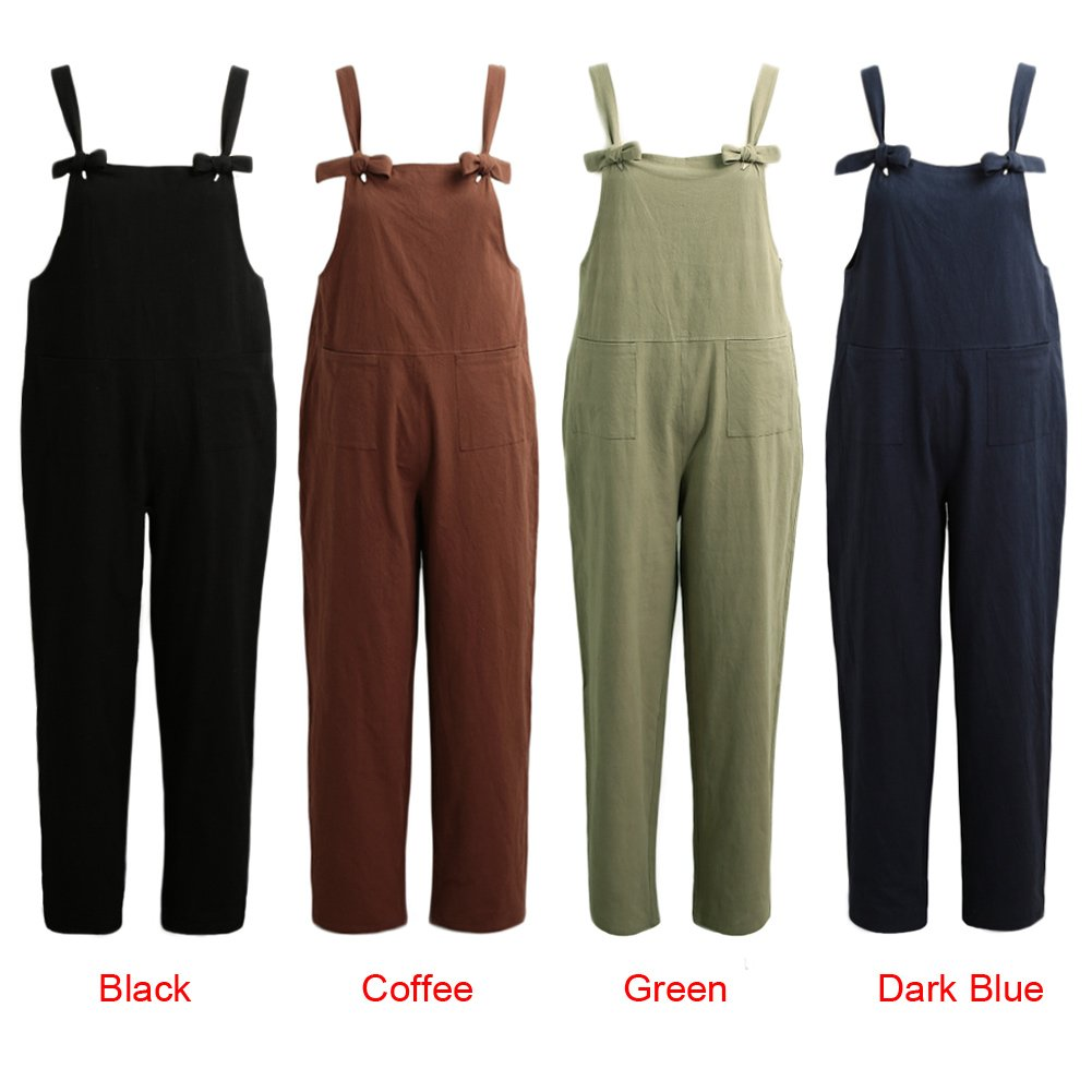 Romacci Women Loose Jumpsuit Sleeveless Pockets Wide Legs Casual Rompers