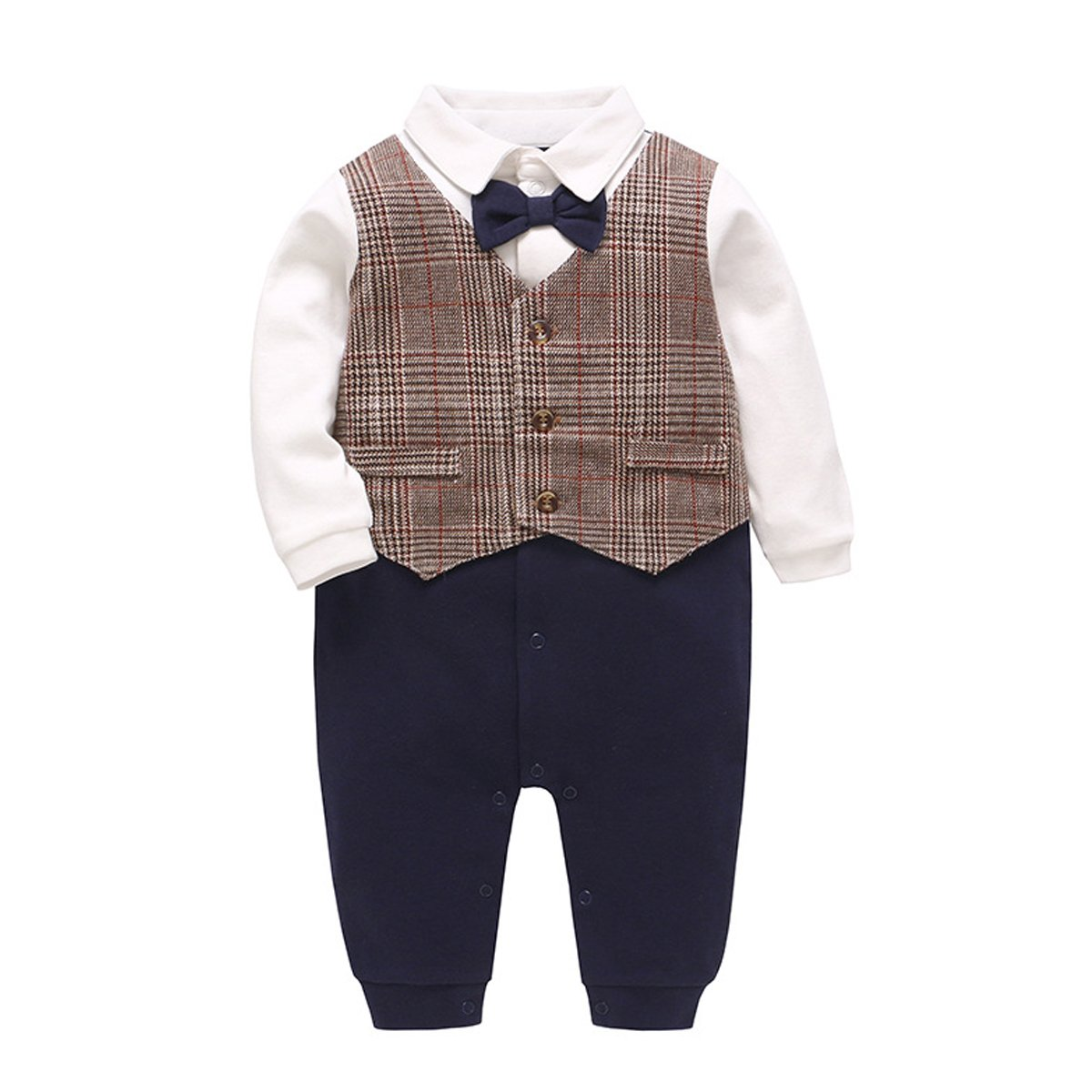 Kanodan Baby Boy Wedding Gentleman Romper Suits with Bowtie Onesie Jumpsuits