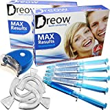 DREOW TEETH WHITENING LED Light KIT, 4 XL Carbamide Peroxide Gel Syringes, Remineralizing Syringe, 3 Mouth Trays. Safe and Fast Results – Whitens Teeth Up To 6 Shades in ONLY 2 Days, Removes Coffee, Wine, Tobacco Stains, Dentist Recommended Product