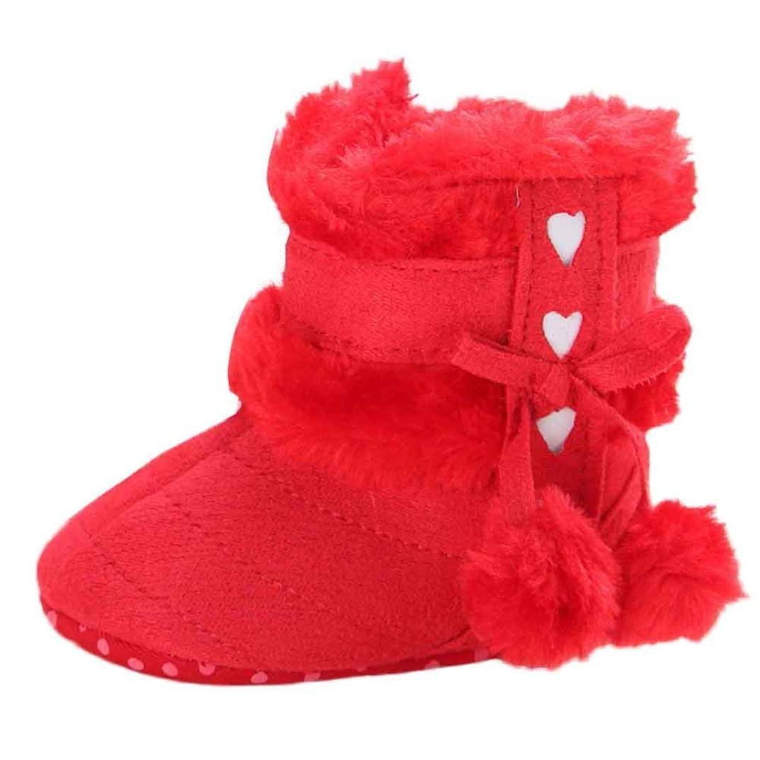 BUYEONLINE Baby Girls Lovely Furry Ball Soft Sole Snow Boots Warm Toddler Boots