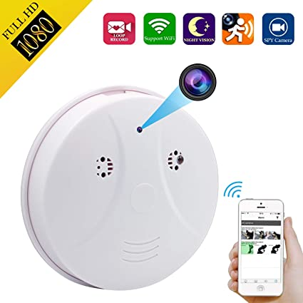 Spy Hidden Camera, ZDMYING Smoke Detector Upgraded HD 1080 Cam, with Night Vision/