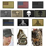 #8: Bundle 10 Pieces US Flag Velcro Patch American Flag Punisher Velcro Patches Tactical Military Morale Patch Set