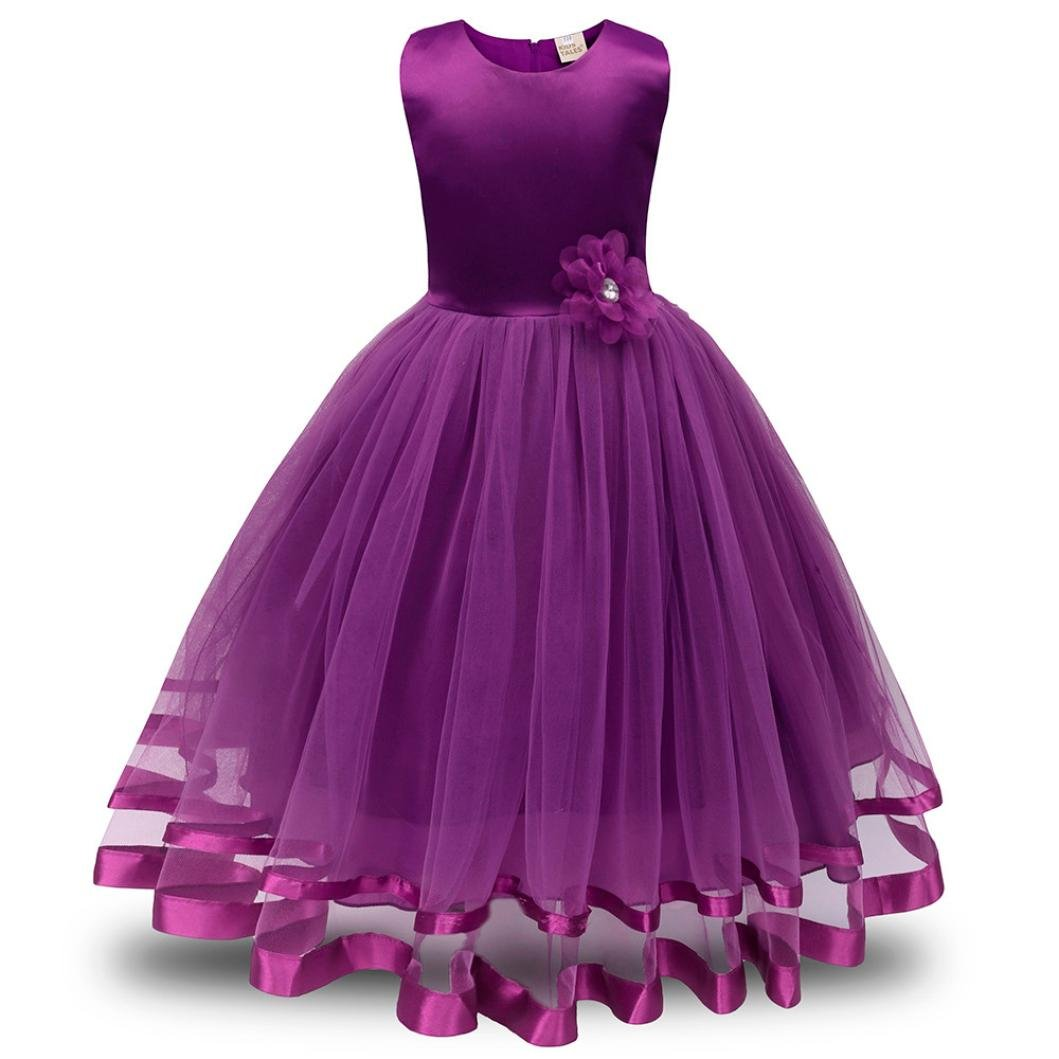 Xinan M/ädchen Kleid Party Dress Kinderm/ädchen Blume M/ädchen Prinzessin Brautjungfer Festzug Tutu T/üll Gown Party Brautkleid Kleider Maxikleid Cocktailkleid 160, Hot Pink