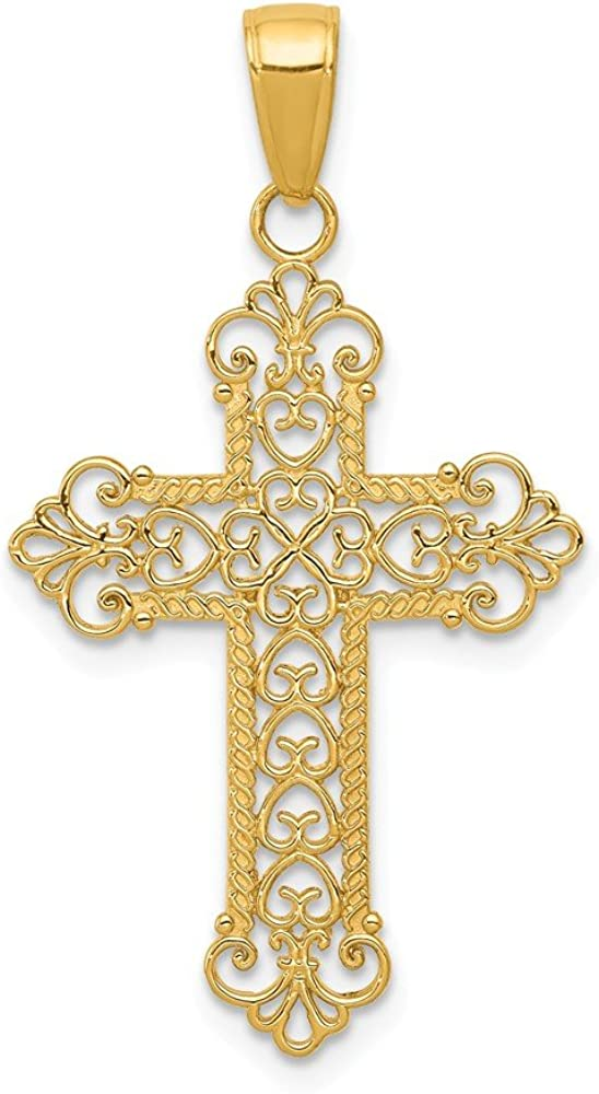 14K Yellow Gold-plated 925 Silver Budded Cross Pendant Jewels Obsession Silver Budded Cross Pendant